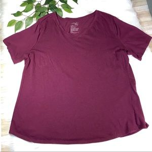 Terra & Sky Burgundy V-Neck Top Sz 1X (16W-18W)
